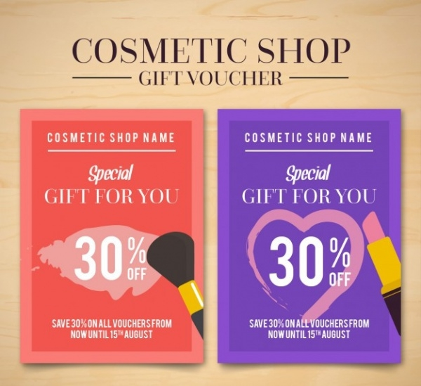 cosmetic products flyers of sales