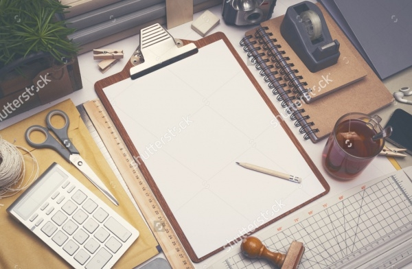 Creative architect desk sketch mockup