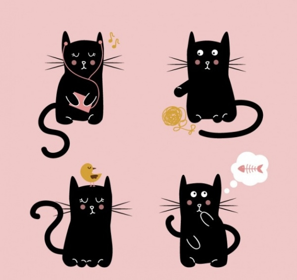 Cute Black Cat Illustration Vector