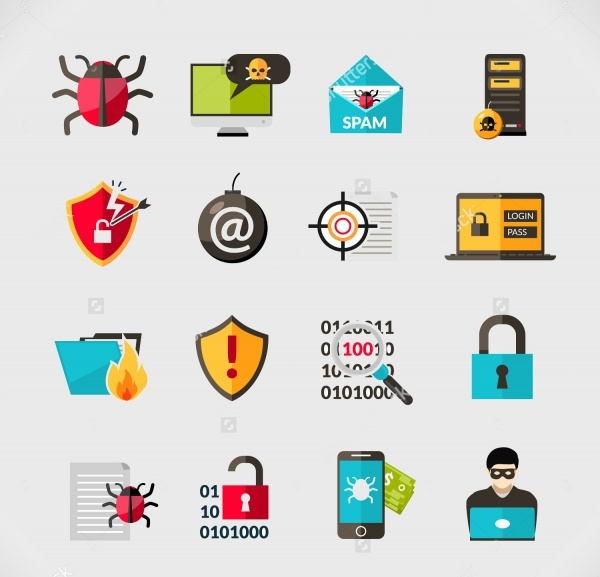 Cyber Virus Security Icons