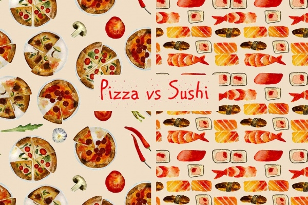 Delicious Italian Pizza and Sushi Pattern