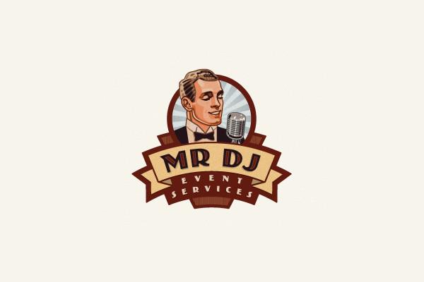 Dj Man Retro logo design