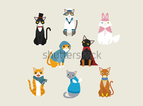 Dressed cute vector cats