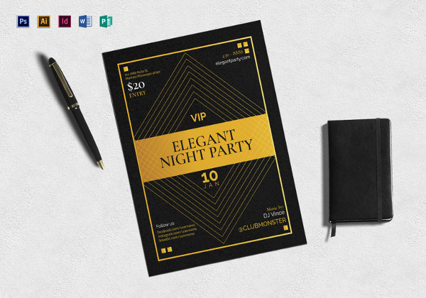 easy to edit vip night party flyer template