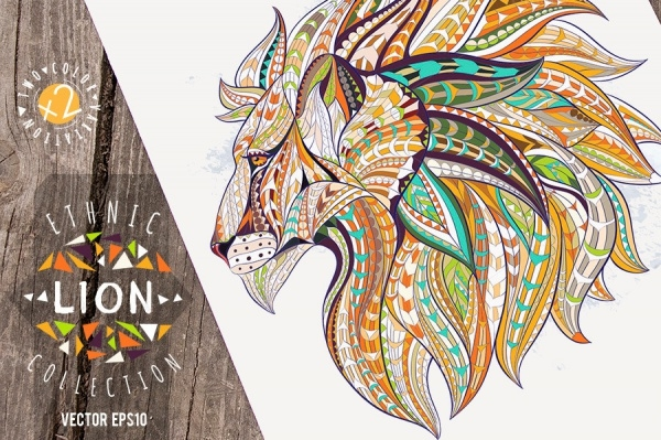 Ethnic Collection Lion Vector