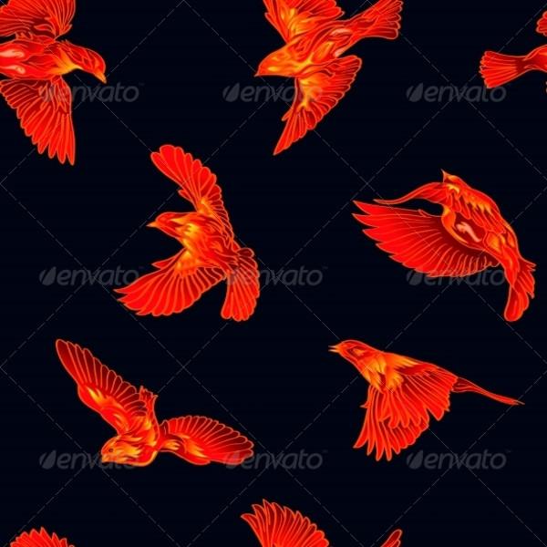 Fire Birds Seamless Pattern
