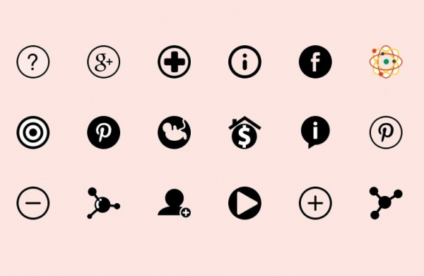 Flat Circle Icons Collection