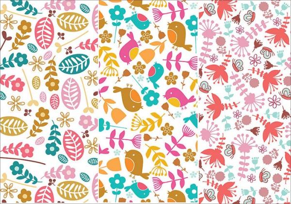 Flower and Bird Seamless Patterns