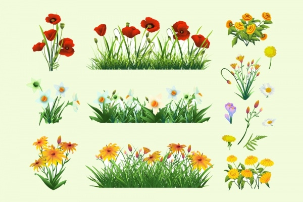 Flowers and Grass Vectors