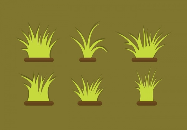 Foilage Grass Vector Set