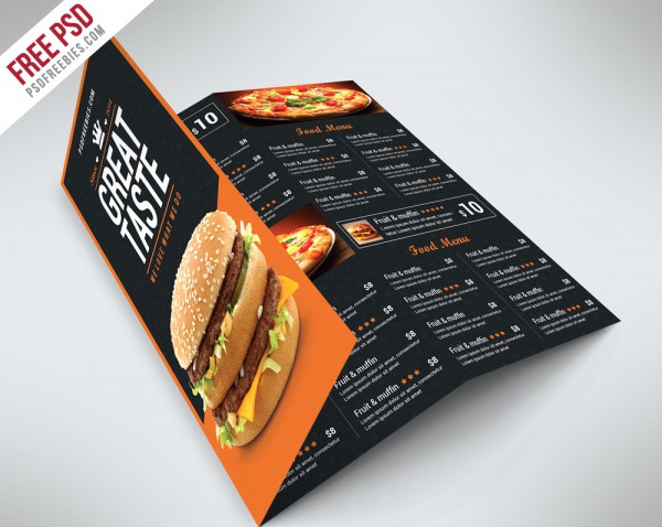 Food Menu Folded Brochure