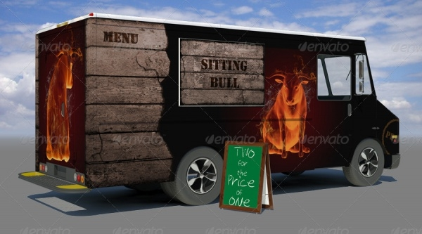 Food Truck Mock-up for Advertisement