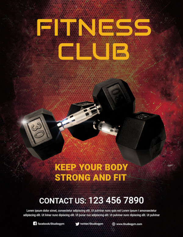 free body fitness club flyer