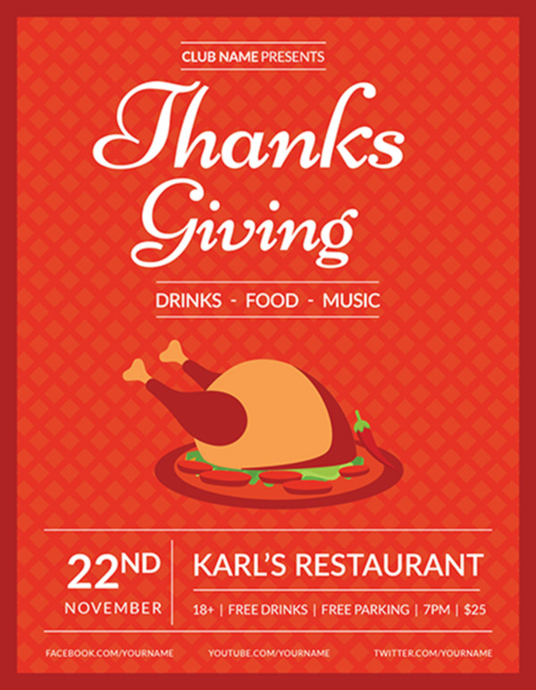 free club thanksgiving flyer