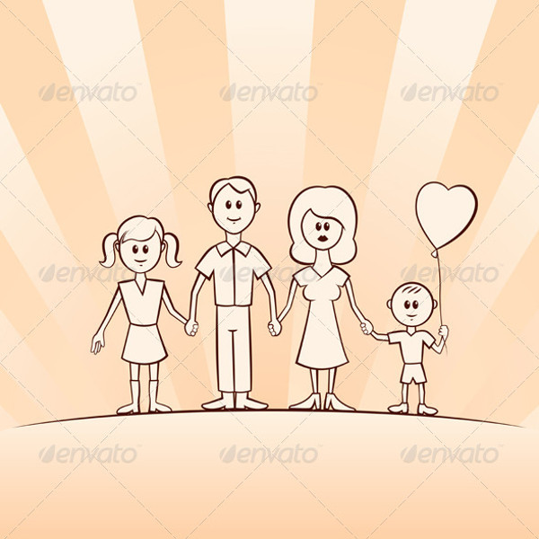 Funny Cartoon Vector Family