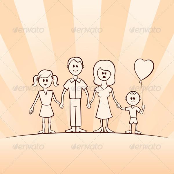 Funny Cartoon Vector Family