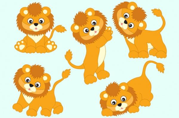 Funny Lions Cartoon Vectors
