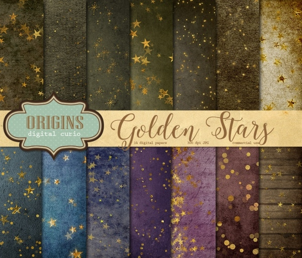 Gold Star Digital Paper Textures