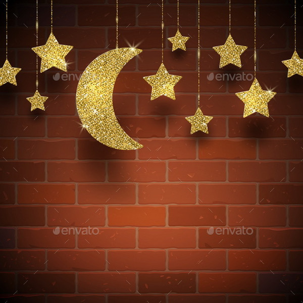 Gold Stars and Moon texture background