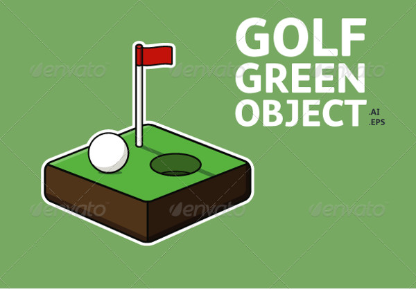 Golf Ball & Green Vector Object