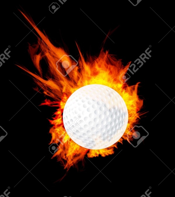 GolfBall On Fire Stock Vector