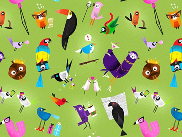 Green Seamless Birds Pattern