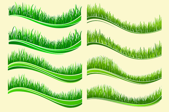 Green colored grass borders