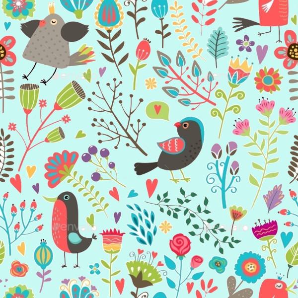 Hand-Drawn Birds Pattern Designs