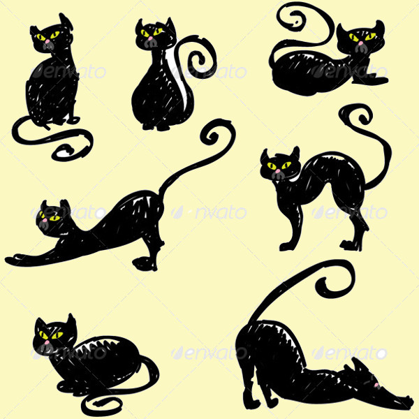 Hand Drawn Black Cats Set
