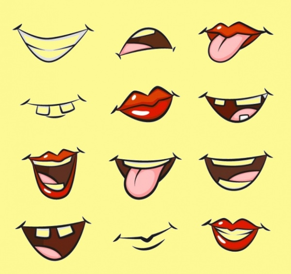 Hand Drawn Cartoon Mouths Vector