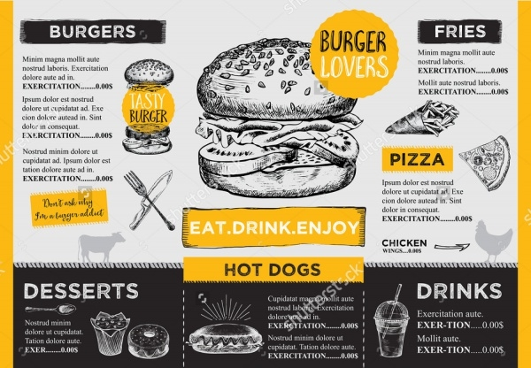 Hand Drawn Catering Food Brochure