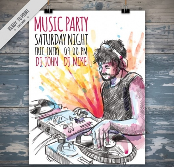 Hand Drawn Dj Music Party Flyer