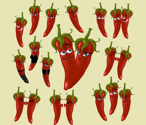 Hot Chili Peppers Cartoon Vectors