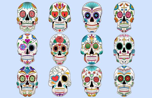 Human Sugar Skulls Vector