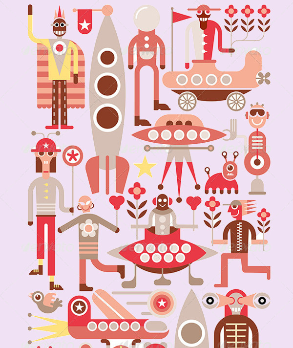 Humans and Aliens Vector Illustration