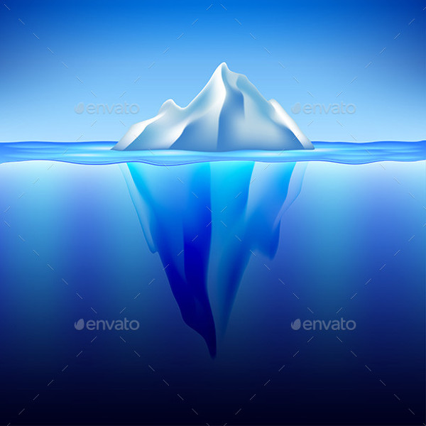 Iceberg in Water Vector Background