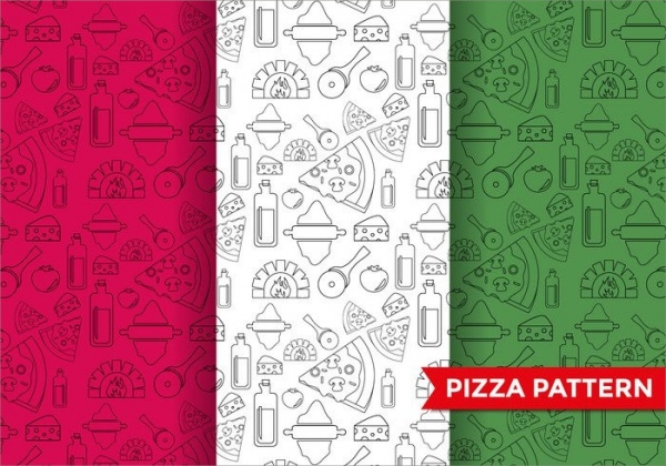Isolated Pepper Pizza Pattern Vector