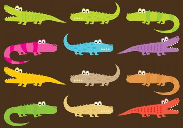 Isolated Wild Gator Cartoons