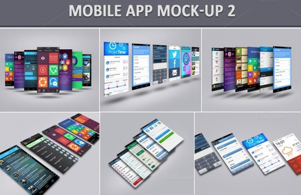 Isometric Mobile App Mock-Up