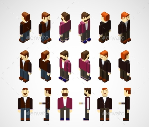 Isometric Vector Human Set