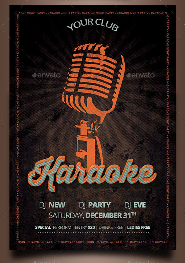 Karaoke Night Vintage Flyer