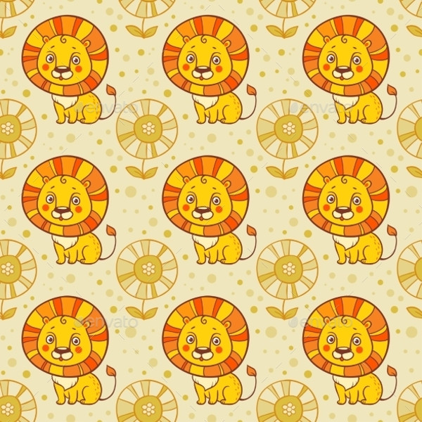 Lion Seamless Vector Pattern