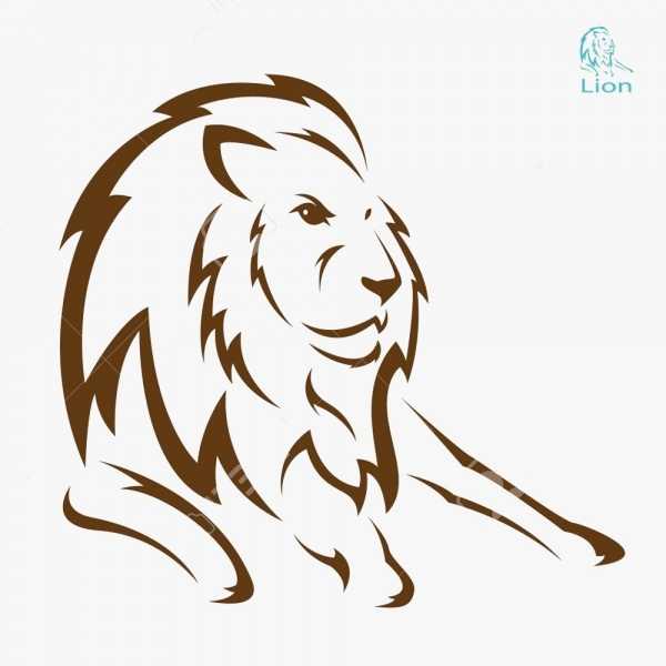 lion vector on white background