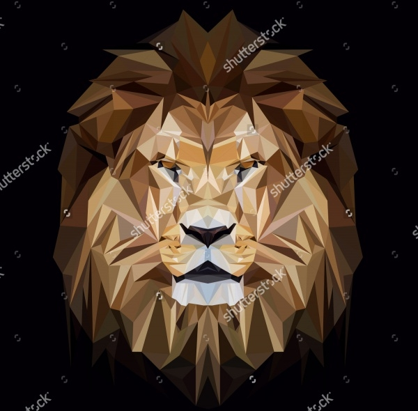 Lion low poly design Vector