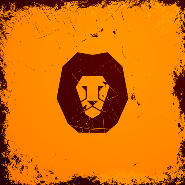 Lionhead with vintage grunge vector