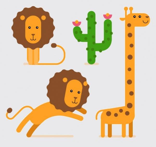 Lions and giraffe cartoon Vector