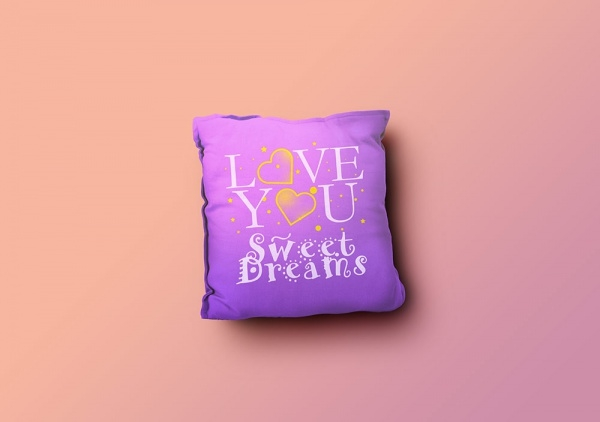 lovely heart pillow mockup