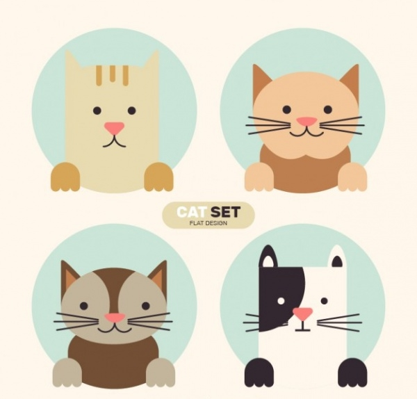 lovely cat set vector foryou