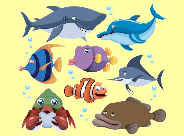 Marine Animal Cartoon Vectors