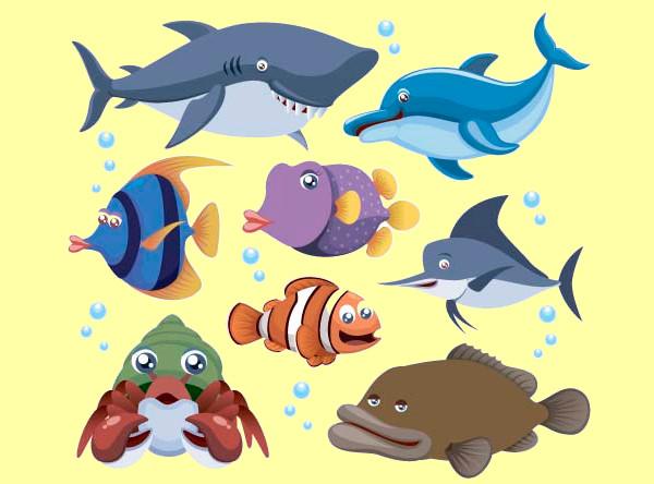 Marine Animal Cartoon Vectors